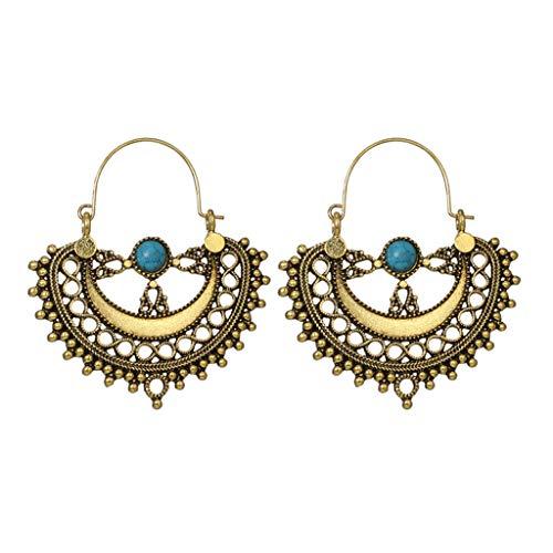 XBKPLO Dangle Hoop Earrings for Women's Fashion Turquoise Hollow Oversized Semi-circular Dangling Ear Hook Wild Jewelry Lady Gifts - Handcuff Oversized Steel Chain
