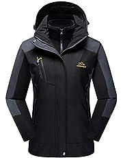 TACVASEN Women's Hooded 3-in-1 Winter Interchange Jacket Water Repellent Softshell Fleece Inner Ski Coat