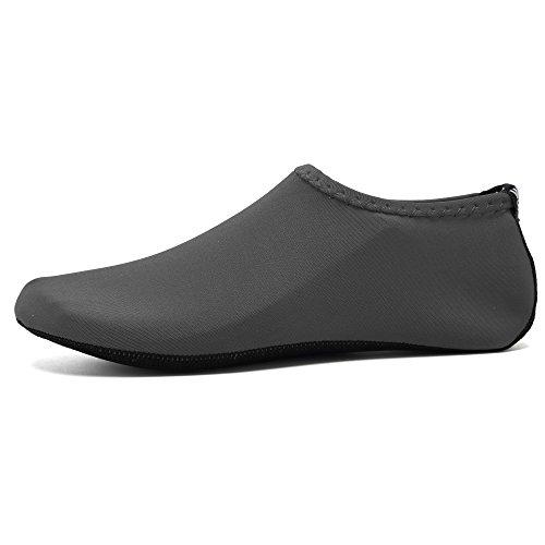 WQINSHOE Kinder Mens Womens Barfuß Wasser Haut Aqua Schuhe Durable Rutschfeste Aqua Socken Für Strand Pool Schwimmen Yoga Wassergymnastik Grau