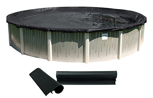 (Buffalo Blizzard Deluxe Winter Cover for 33-Foot Round Above-Ground Swimming Pools | Blue/Black Reversible | 3-Foot Additional Material | Wind Guard Clips Included)