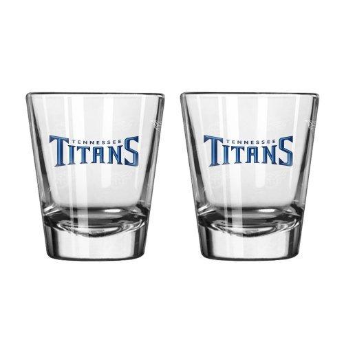 - NFL Football Team Logo Satin Etch 2 oz. Shot Glasses | Collectible Shooter Glasses - Set of 2 (Titans)