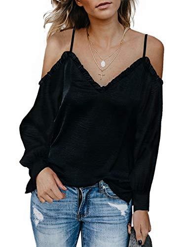 (Sidefeel Women Cold Shoulder V Neck Long Sleeve Blouse Medium Black)