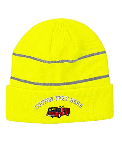 Custom Text Embroidered Firefighter Truck Unisex Adult Acrylic Reflective Stripes Beanie Skully Hat - Neon Yellow, One Size