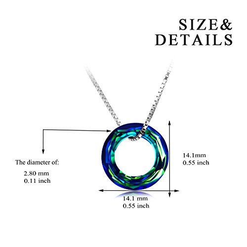 AOBOCO Sterling Silver Necklace Pendant with Swarovski Circle Crystals Simple Jewelry for Women Birthday Gifts for Girls for Wife Her Girlfriend Teens Girls by AOBOCO (Image #2)
