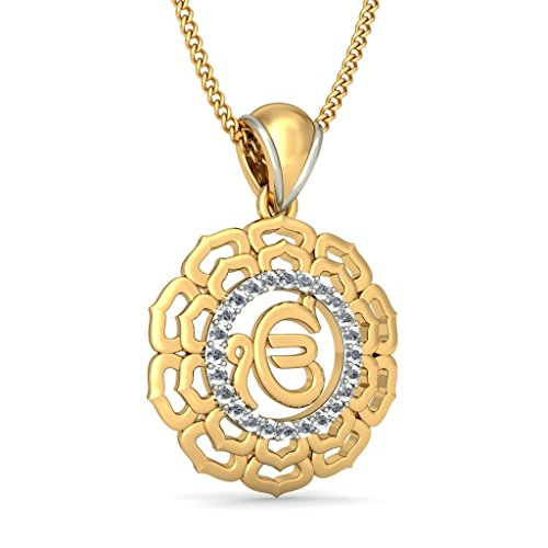 18 K Or jaune 0.12 CT TW Round-cut-diamond (IJ | SI) Pendentif