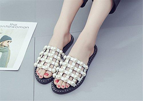 de planas mujeres rebordeadas NEWZCERS verano para blanco Zapatillas manera del sólidas las la xYwgRT