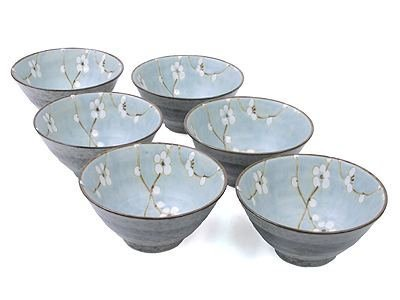 M.V. Trading MQ549BPS6V Japanese Cherry Blossom Rice Noodle Soup Bowls , Light Blue, Set 6 Pieces, 5.50 (L) x 5.50 (W) x 2.75 (H) Inches, 12-Ounces