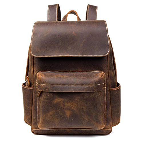- ZHM Men's and Women's Backpacks, Retro Crazy Horse Leather Men's Backpack Casual top Layer Leather Backpacks Leather Travel Computer Bag