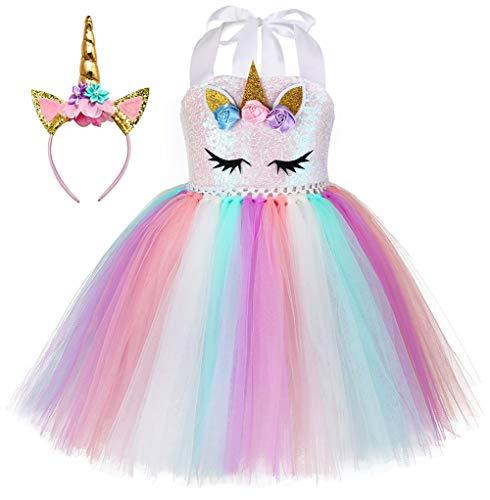 Sparkly Dress Halloween Costume Ideas (Kokowaii Fancy Girls Unicorn Tutu Dress Kids Party Costume with)