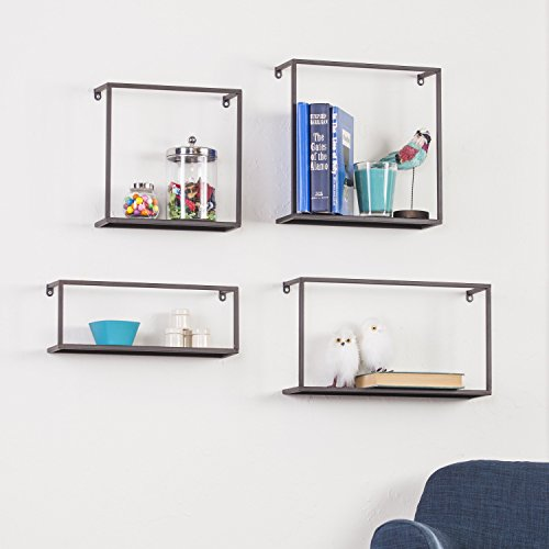 Adrienne Contemporary Antique, Oxidized Black Iron Tube Metal Wall Shelves - 4pc Set by FurnitureMaxx