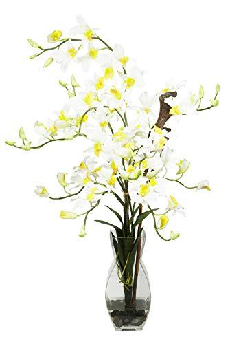 Artificial Flowers -Cream Dendrobium with Vase Flower Arrangement Silk Flowers ()