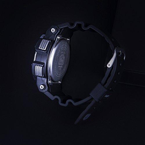 Men Boy Teenager Kid Junior Children Sport Watch Analogue Digital 100M Waterproof Wrist Watch Timer Big Face Dual Dial Business Casual LCD Electronic Back Light Wristwatch-Yellow by Blueshadow (Image #9)