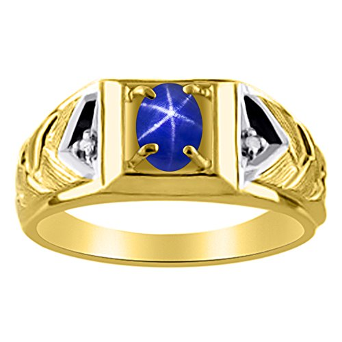 Diamond & Blue Star Sapphire Ring 14K Yellow or 14K White Gold