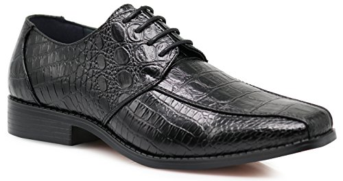Gator3N Men's Alligator Crocodile Print Oxfords Fashion Lace Up Dress Shoes (8.5, Black) by Enzo Romeo