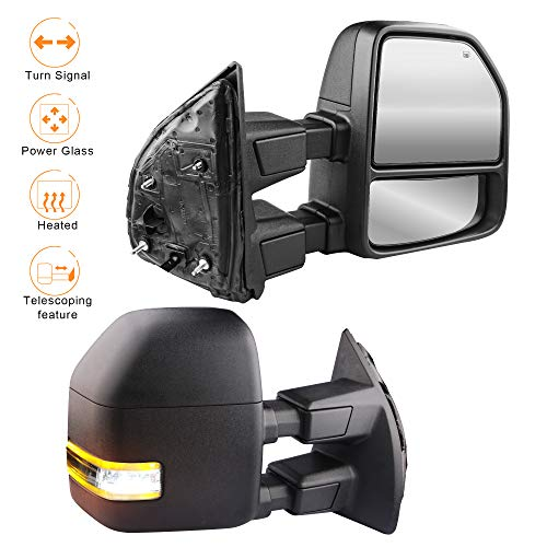 (MOSTPLUS New Power Heated Towing Mirrors for Ford F250 F350 F450 F550 Super Duty 2008 2009 2010 2011 2012 2013 2014 2015 2016 w/Turn Signal,Clearance Light (Set of 2))