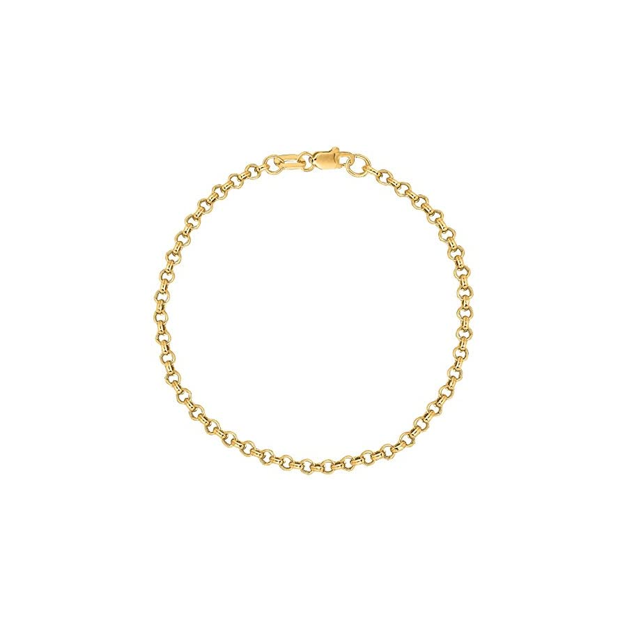 10K Solid Yellow Gold Anklet Rolo Link Chain Ankle Bracelet 10 Inch 2.3mm by Ritastephens