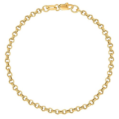 Ritastephens 14K Solid Yellow Gold Rolo Link Chain Bracelet 7 Inches 2.3 Mm ()