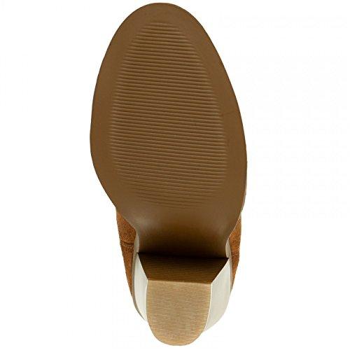CASPAR Fashion Women's Chelsea Boots Brown Xt5OSo