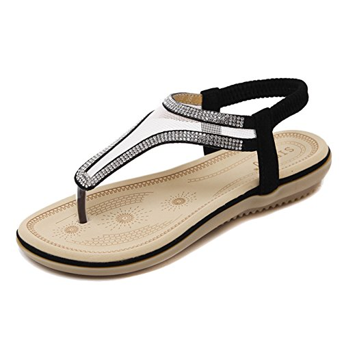 Agowoo Kvinners Stilig Ventilert Beaded Strand Sandaler Svart