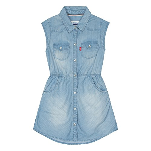 Levi's Little Girls' Toddler Open Road Short Sleeve Denim Dress, Ultra Light, (Western Dress Clothes)