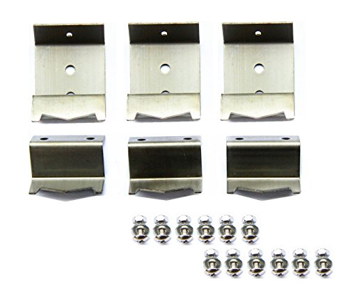 Hongso Stainless Steel Heat Plate Brackets & Burner Hanger Brackets Replacement (Mounting Screws Included) for Chargriller 5650, Chargriller 5050 Duo, Chargriller 3001 (Set of 6) ()