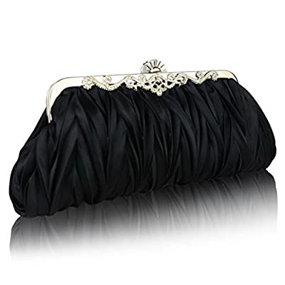 Fashion Road Womens Satin Pleated Evening Clutch Bags Purse Wedding Cocktail Party Handbags