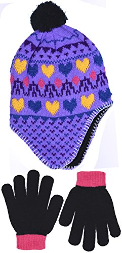 SWAK Girl's Traditional Knit Hat with Ear Flaps & Gloves Set in 3 Colors (Purple)