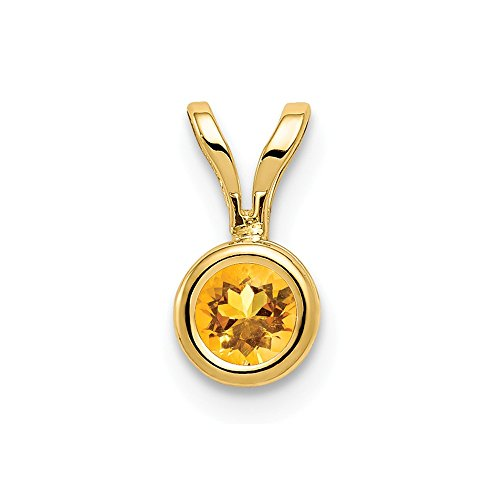 14k Yellow Gold 4mm Citrine Bezel Pendant Charm Necklace Gemstone Fine Jewelry Gifts For Women For Her