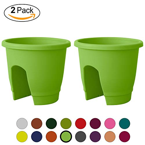 ALMI Balcony Deck Rail Planter Box with Drainage Trays, [2 Pack] Bloomers Railing Round Pot, Drainage Holes, Weatherproof Resin Planter, 12 Inch, Indoor & Outdoor, Light Green