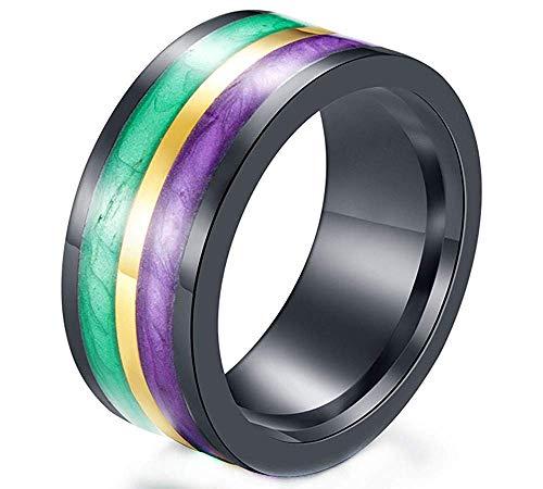 YABINI Men's Simple Design Mortorcycle Biker Jewelry New Silk Enamel Colorful Two-Tone Cool Rings in Stainless Steel Size 12 Green Purple