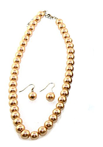Brown Pearl Imitation (V G S Eternity Fashions Fashion Jewelry ~ Light Brown Imitation Pearls Beads Necklace and Earrings Set (11077LBrwn))