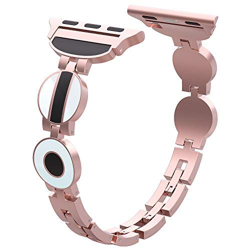 HiGoing Compatible with Apple Watch Band 38mm 40mm, Unique Slim Stainless Steel Metal Replacement Wristband Strap iWatch Series 4 3 2 1 (Rose Gold)