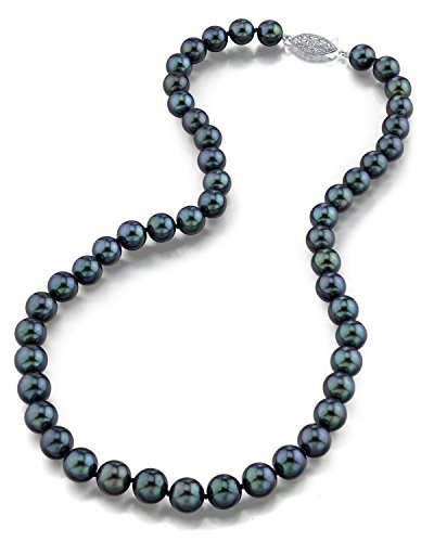 THE PEARL SOURCE 14K Gold 7.0-7.5mm AAA Quality Round Genuine Black Japanese Akoya Saltwater Cultured Pearl Necklace in 18