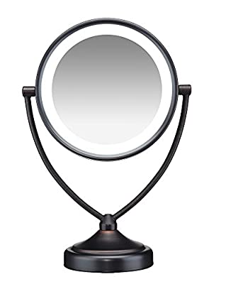 Round Shaped Natural Daylight Double-Sided Lighted Makeup Mirror; 1x/10x magnification