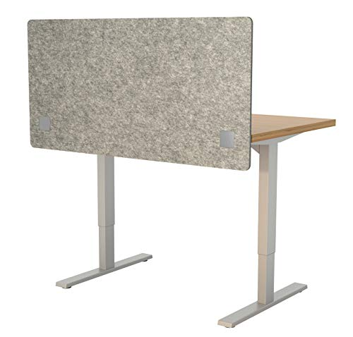 VaRoom Acoustic Partition, Sound Absorbing Desk Divider  48 W x 24H Privacy Desk Mounted Cubicle Panel, Ash Grey