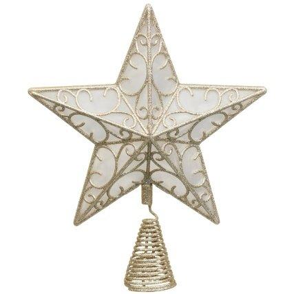 Puntale per albero di Natale con 10 luci aLED Champagne Christmas /word