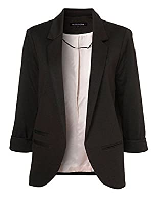 Obazidou Women's Cotton Rolled Up Sleeve No-Buckle Blazer Jacket Suits