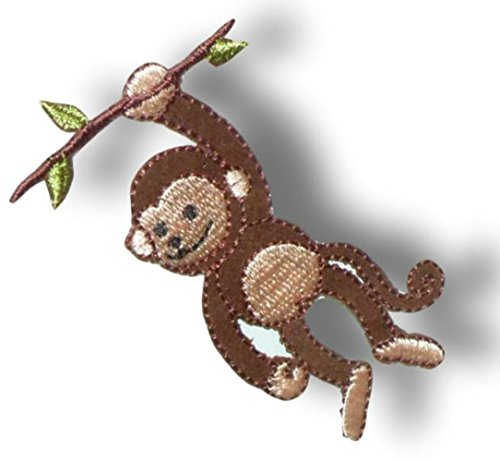 "[Single Count] Custom and Unique (3 1/8"" X 1 3/4"" Inches) Adorable ""Animal"" Monkey Swinging From Jungle Branches w/ A Smile Iron On Embroidered Applique Patch {Brown, Green, & Tan Colors}"