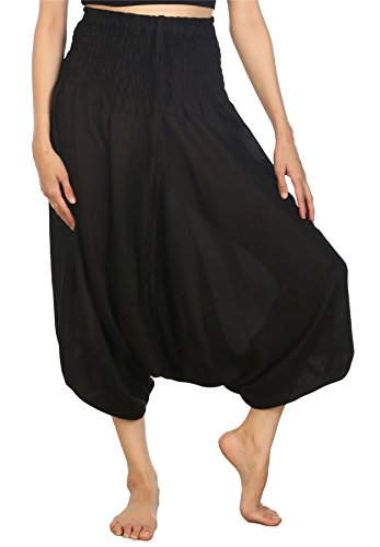 Lofbaz Women's Solid Smocked Waist 2 in 1 Harem Jumpsuit Pants Black L