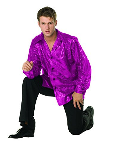 70's Dance Recital Costumes (OvedcRay 1970S 70'S Retro Disco Fever Sequin Shirt Adult Costume Swinger Gold Purple Red)
