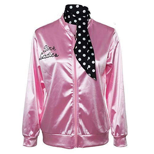 Fancycloth 50S Grease T-Bird Danny Pink Ladies Satin Jacket Costume with Polka Dot Scarf X-Large -