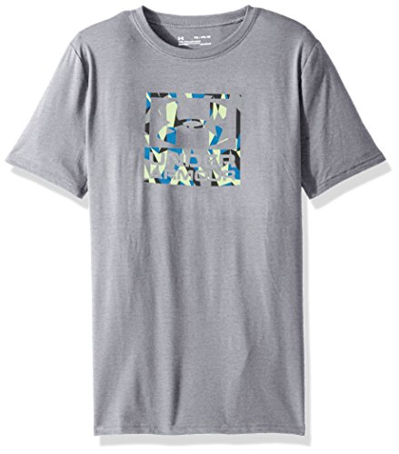 Boy's Under Armour Boys' Duo Blocked Short Sleeve Tee,Steel Light Heather (037)/Cruise Blue, Youth X-Large