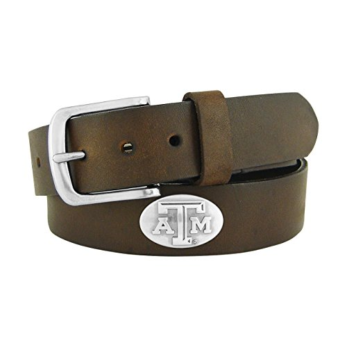 NCAA Texas A&M Aggies Zep-Pro  Leather Concho Belt, Brown, 34-inches