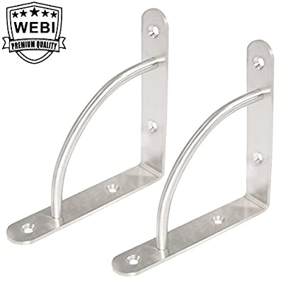 WEBI Stainless Steel Corner Braces, L Shaped Right Angle Brackets, Joint Fastener, Shelf Support