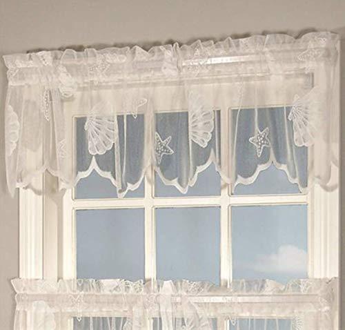 (Curtain Chic Seashells Lace Valance, White)
