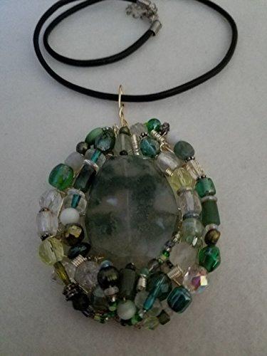Green Moss Agate Pendant w 2 Earrings ()