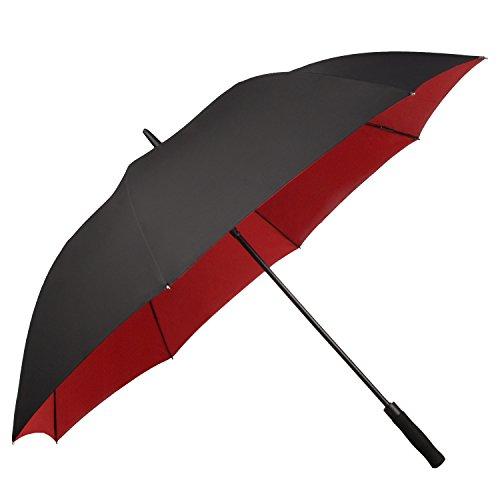 Saiveina 56 Inch Windproof Golf Umbrella, Auto Open, Full Fiber 8 Ribs Double Layer Straight Umbrella,Work for UV Protection, Rain, Snow Review