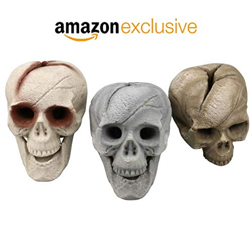 Regal Flame Human Skull Ceramic Wood Large Gas Fireplace Logs Logs for All Types of Gas Inserts, Ventless & Vent Free, Propane, Gel, Ethanol, Electric, or Outdoor Fireplaces & Fire Pits - Brown -