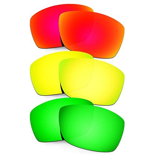 Hkuco Mens Replacement Lenses For Costa Corbina Sunglasses Red/24K Gold/Emerald Green