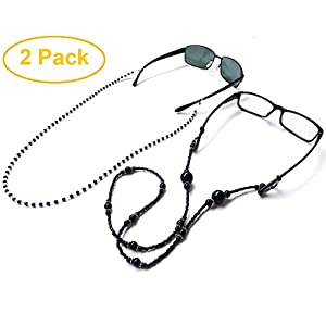 Eyeglass Chain Holder,Bestele 2 Pieces Sunglass Holder Strap Pearl Beaded Eyewear Retainer Lanyard Cord Necklace (2 Pack Chains Black)